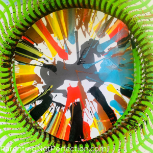 Close up of Carousel horse spin art after spinning in our salad spinner