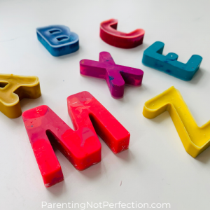 close up of recycled crayon letters