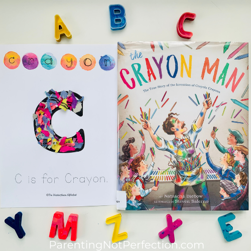 "recycled crayon letters paired with ""The Crayon Man"""